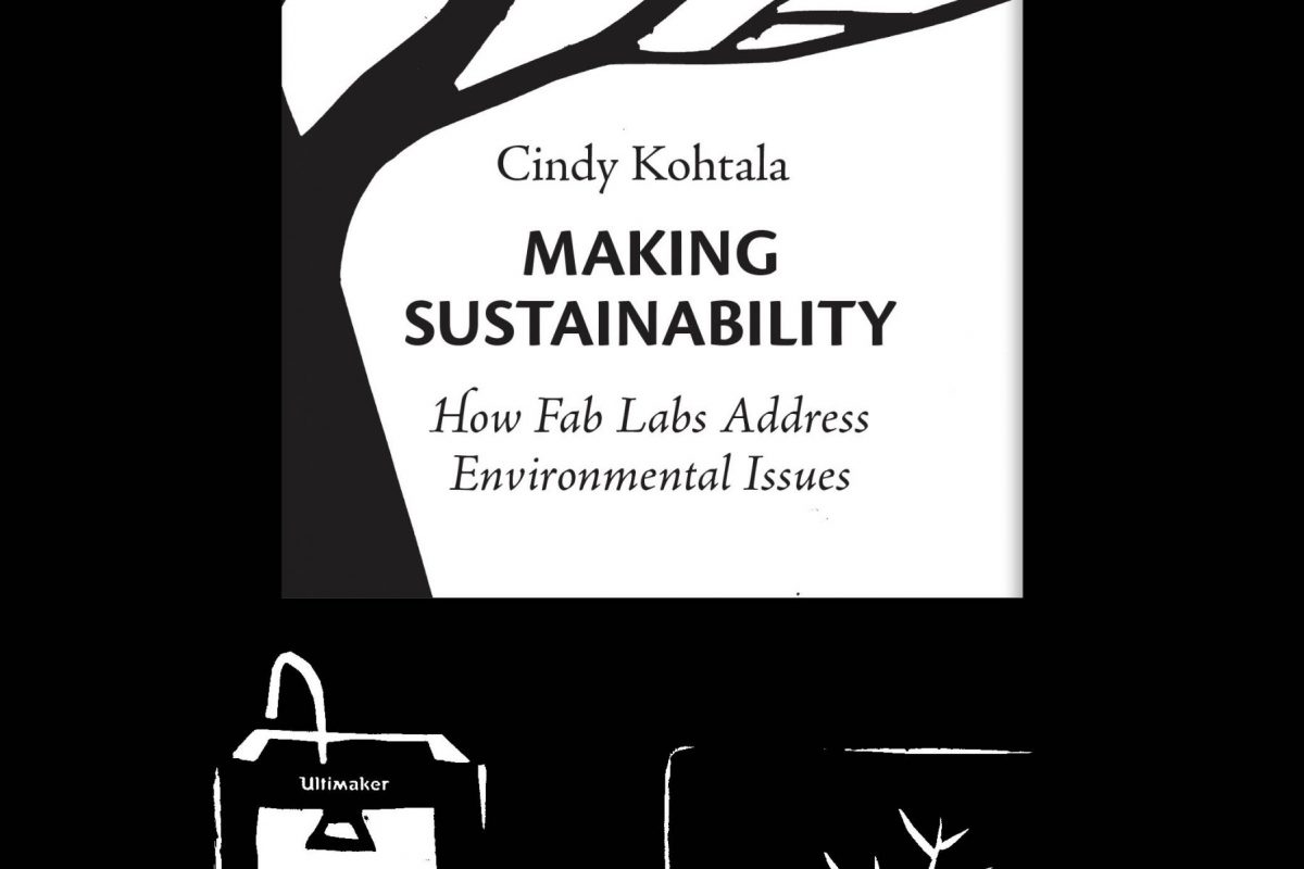 book cover of the dissertation Making Sustainability featuring a black and white illustration of a computer, 3D printer and a window with a tree outside