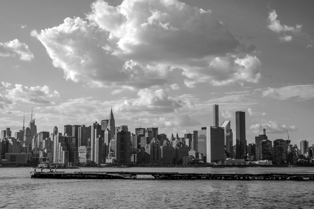 black and white photograph of the New York skyline