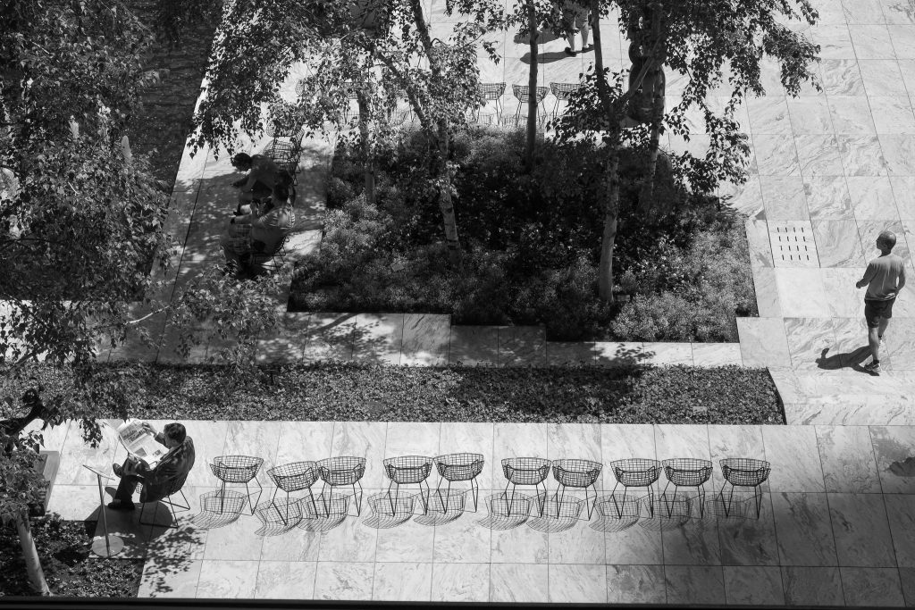 photograph of the MOMA courtyard from above. the courtyard is marble and there is a row of steel frame chairs that create shadows. a man is sitting at the end of the row reading a newspaper. there are trees in the middle and on the right another man is walking across the marble.