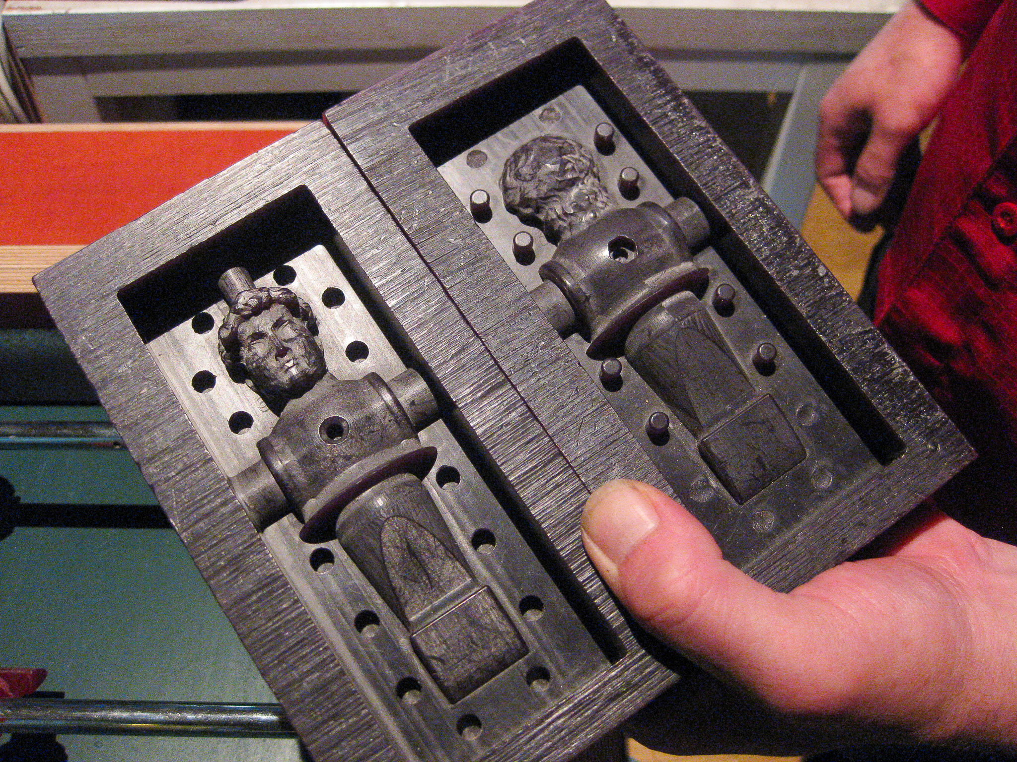 photograph of CNC routered moulds for casting players for a fooseball game